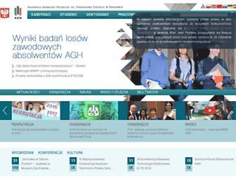 Main page screenshot of agh.edu.pl