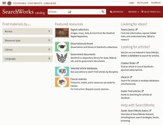 Main page screenshot of searchworks.stanford.edu