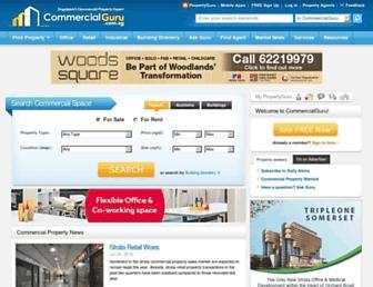 Main page screenshot of commercialguru.com.sg