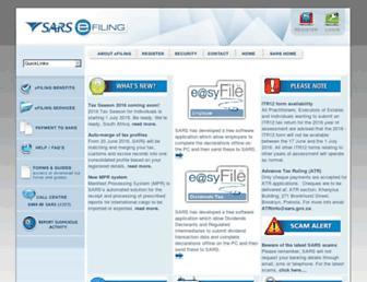 Main page screenshot of sarsefiling.co.za