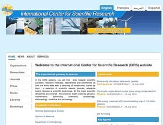 Main page screenshot of cirs.fr