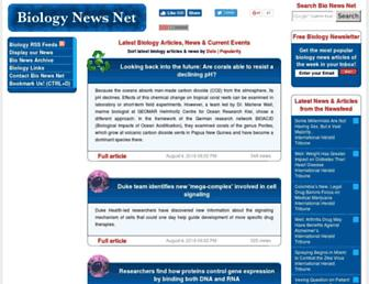 Main page screenshot of biologynews.net