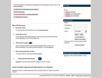 candidate.psiexams.com screenshot