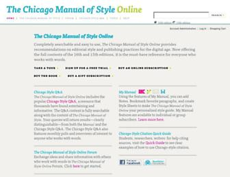 Main page screenshot of chicagomanualofstyle.org