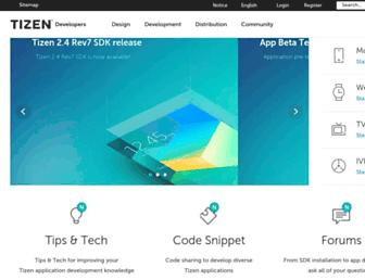 developer.tizen.org screenshot