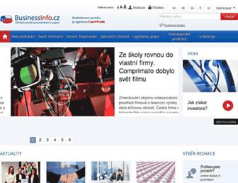Main page screenshot of businessinfo.cz