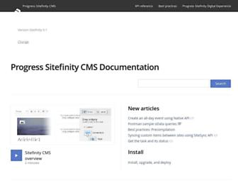 docs.sitefinity.com screenshot