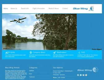 bluewingairlines.com screenshot