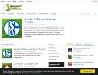 Main page screenshot of soccer-fans.de