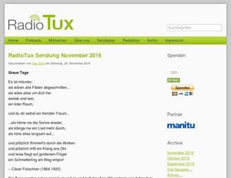 Main page screenshot of radiotux.de