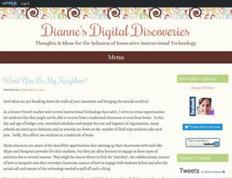 Main page screenshot of diannekrause.edublogs.org