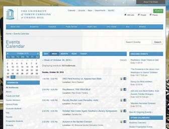 Main page screenshot of events.unc.edu