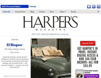Main page screenshot of harpers.org