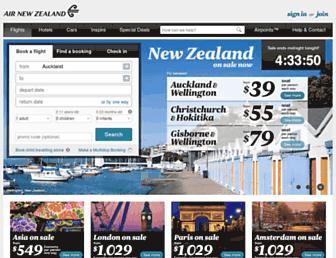 Main page screenshot of airnewzealand.co.nz