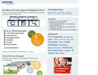 Main page screenshot of home.arcor.de