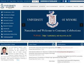 uni-mysore.ac.in screenshot