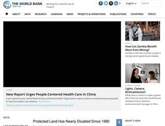 Main page screenshot of web.worldbank.org