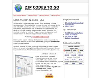 Thumbshot of Zipcodestogo.com