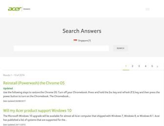 sg.answers.acer.com screenshot