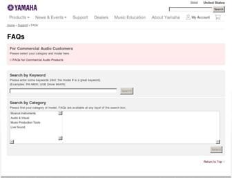 faq.yamaha.com screenshot