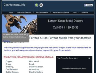 Main page screenshot of cashformetal.info