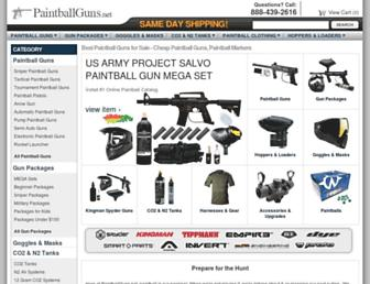 Main page screenshot of paintballguns.net