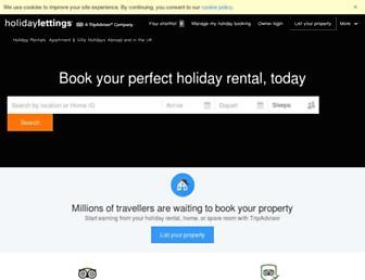 Main page screenshot of holidaylettings.co.uk