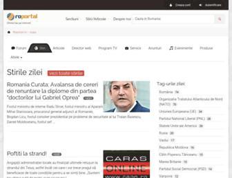 Main page screenshot of roportal.ro