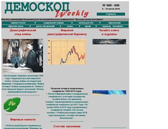 Main page screenshot of demoscope.ru