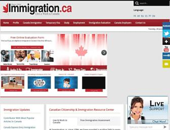 Main page screenshot of immigration.ca