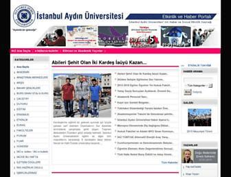 Main page screenshot of etkinlik.aydin.edu.tr