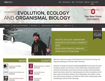 Main page screenshot of eeob.osu.edu