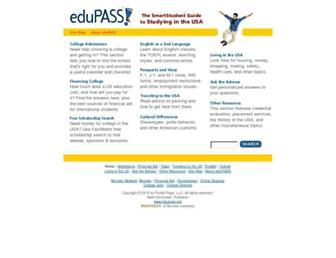 Main page screenshot of edupass.org
