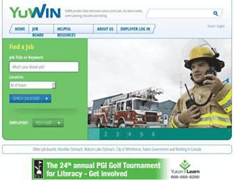Main page screenshot of yuwin.ca