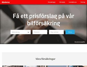 Main page screenshot of modernaforsakringar.se
