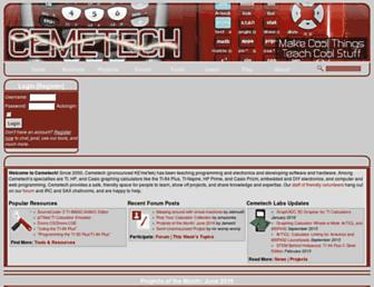 Main page screenshot of cemetech.net