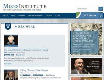 Main page screenshot of mises.org