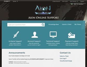 support.aiononline.com screenshot