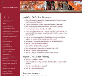 registrar.wsu.edu screenshot