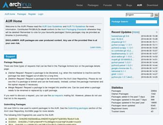 aur.archlinux.org screenshot