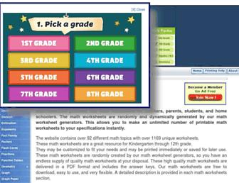 math-aids.com screenshot