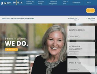 inbiz.in.gov screenshot
