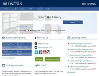 library.lincoln.ac.uk screenshot