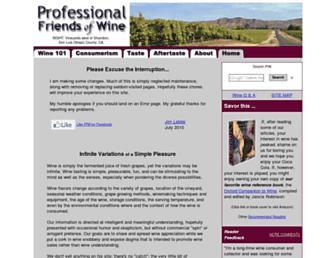 Main page screenshot of winepros.org