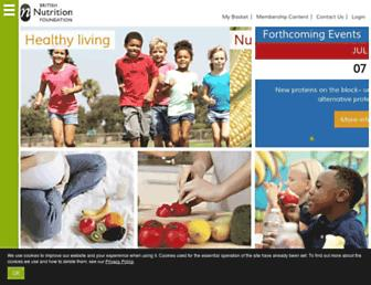 Main page screenshot of nutrition.org.uk