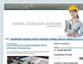 Main page screenshot of gravita-zero.org