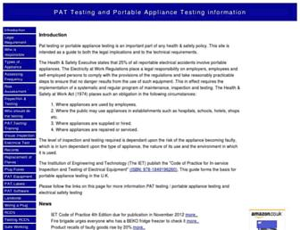 Main page screenshot of pat-testing.info