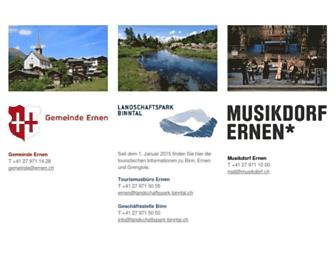 Main page screenshot of ernen.ch