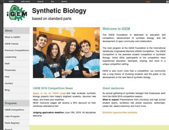 Main page screenshot of igem.org