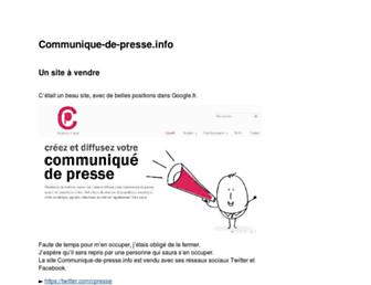 Main page screenshot of communique-de-presse.info